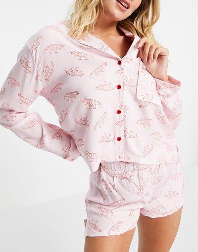 Pigiami Rosa donna Completo pigiama cipria con stampa di dinosauri - Topshop - Rosa