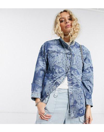 Camicia Blu donna Camicia di jeans lavaggio medio con bottoni in perla sintetica - Topshop - IDOL - Blu