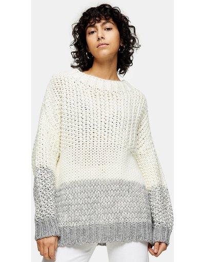 Multicolore donna Maglione bianco e grigio con pannello a contrasto - Multicolore - Topshop