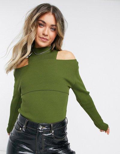 Verde donna Maglione con dettaglio cut - out color kaki - Topshop - Verde