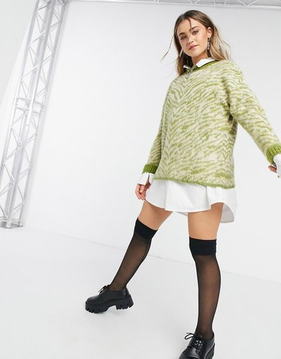 Verde donna Maglione con stampa animalier verde - Topshop