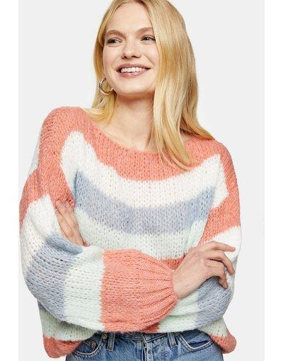 Multicolore donna Maglione oversize a righe multi - Multicolore - Topshop