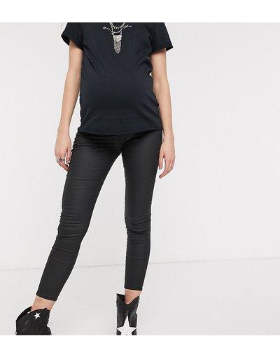 Maternita Nero donna Jeans skinny sopra il pancione neri spalmati - Topshop Maternity - Joni - Nero