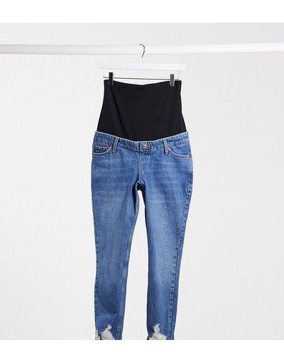 Maternita Blu donna Mom jeans lavaggio medio con fascia sopra il pancione e strappi sul fondo - Topshop Maternity - Blu