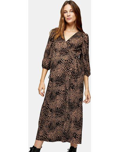 Maternita Cuoio donna Vestito avvolgente stile kimono con stampa animalier color cuoio - Topshop Maternity