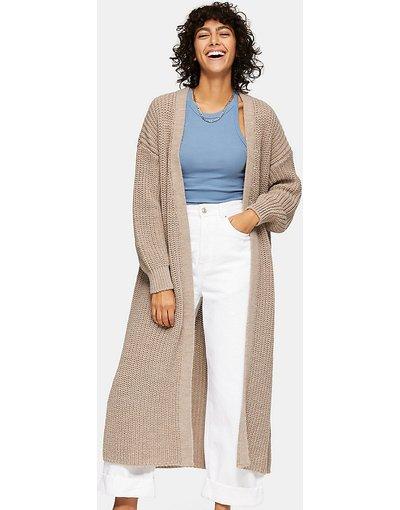 Maglione cardigan Grigio pietra donna Cardigan lungo color pietra - Topshop Petite - Grigio pietra