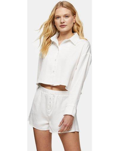 Pigiami Bianco donna Pigiama con camicia e pantaloncini - Topshop - Bianco
