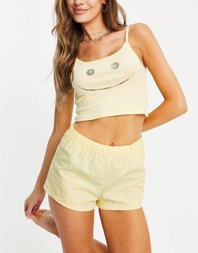 Pigiami Multicolore donna Pigiama giallo e bianco con canotta e pantaloncini con sorriso stampato - Multicolore - Topshop