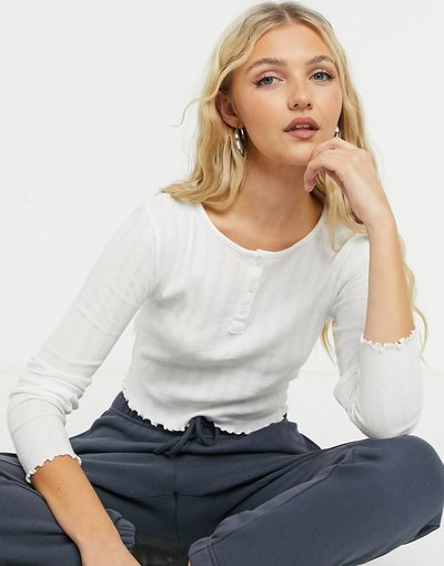 T-shirt Bianco donna Top a maniche lunghe bianco con bottoni - Topshop