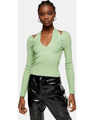 Verde donna Top in maglia verde pallido allacciato al collo e con cut - Topshop - out