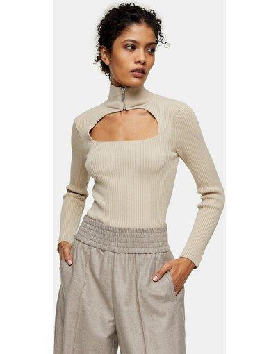 Beige donna Top lavorato a maglia beige con cut - out e zip - Topshop