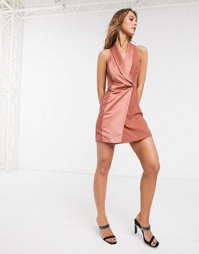 Rame donna Vestito color rame stile smoking in raso - Topshop