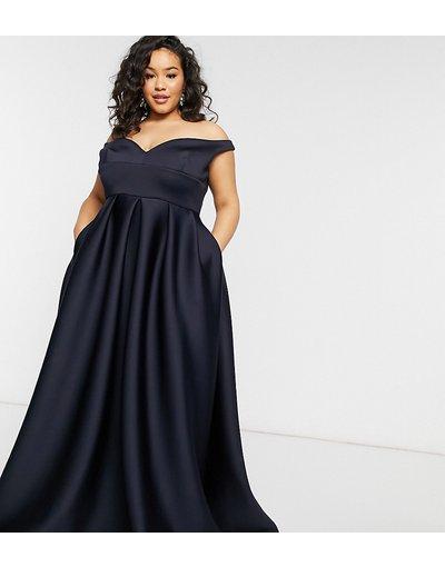 Blu navy donna Vestito lungo da ballo di fine anno con scollo Bardot e tasche, colore blu navy - Black Label Plus - True Violet
