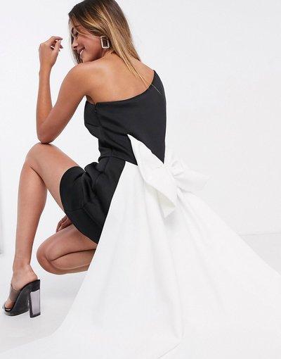 Multicolore donna Vestito corto monospalla a palloncino monocromatico con fiocco oversize - Black Label - True Violet - Multicolore