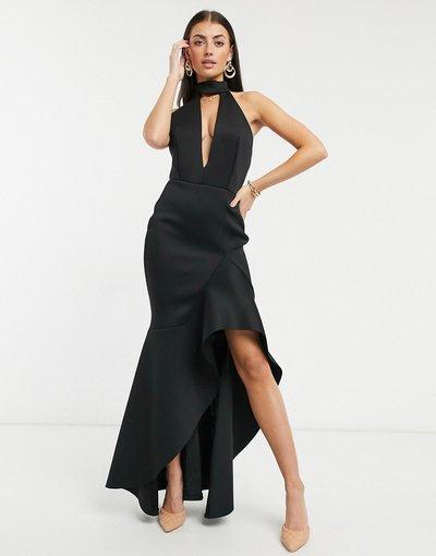 Nero donna Vestito lungo accollato con scollo profondo, apertura a goccia e dettagli con ruches nero - Black Label - True Violet