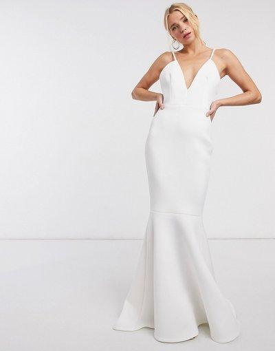 Bianco donna Vestito lungo aperto dietro con scollatura profonda e fondo a sirena color avorio - Black Label - True Violet - Bianco
