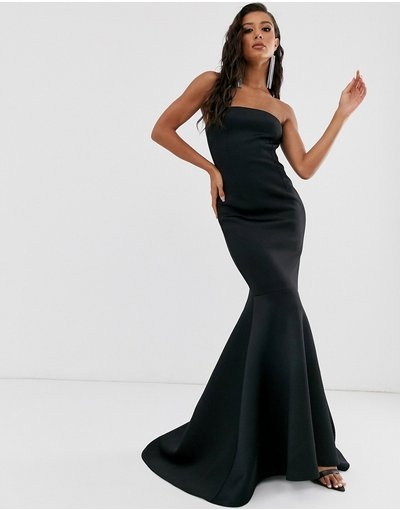 Nero donna Vestito lungo nero con fondo a sirena e scollo alla Bardot - True Violet Black Label