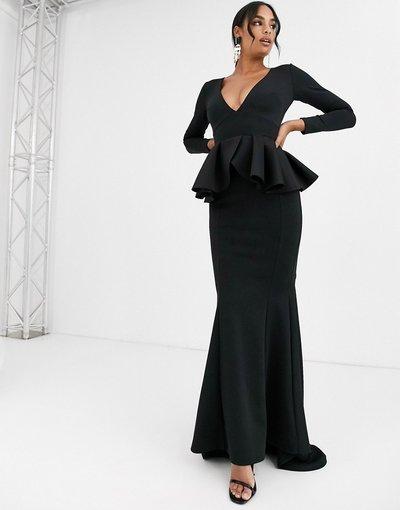 Nero donna Vestito lungo scollo profondo a maniche lunghe con peplo nero - True Violet Black Label