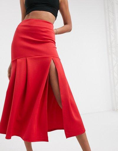 Rosso donna Gonna al polpaccio a vita alta con coda di rondine e spacco rossa - True Violet - Rosso