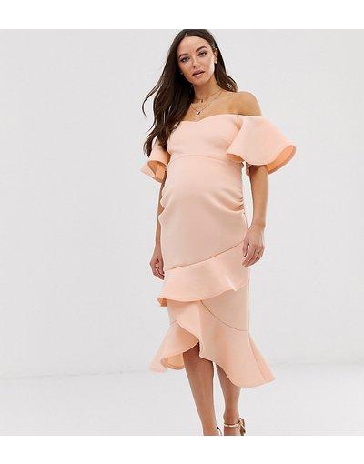 Eleganti longuette Rosa donna Vestito longuette con scollo alla Bardot e volant in tessuto scuba pesca - True Violet Maternity - Rosa