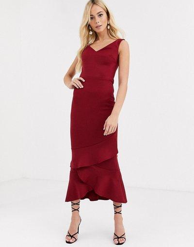 Rosso donna Vestito al polpaccio con ruches sul fondo e scollo alla Bardot - True Violet - Rosso