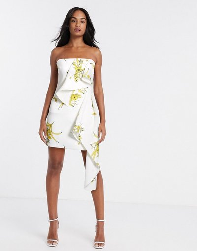 Bianco donna Vestito corto a fascia con volant ocra a fiori - True Violet - Bianco