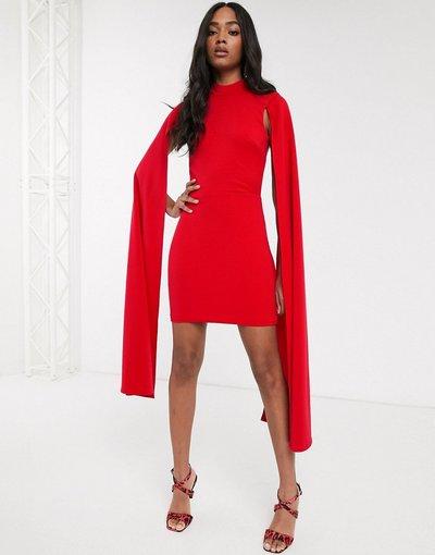 Rosso donna Vestito corto con dettaglio a mantella e apertura sulla schiena rosso - True Violet
