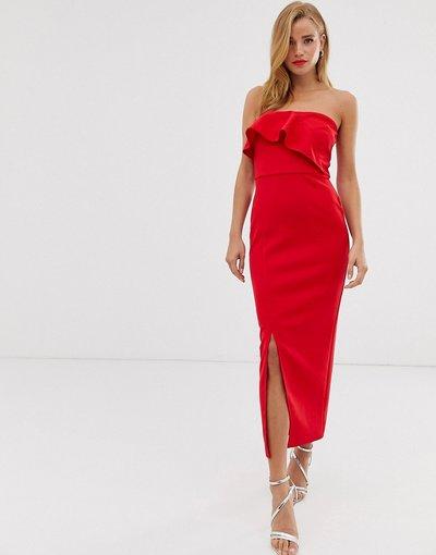 Rosso donna Vestito drappeggiato al polpaccio con ruches - True Violet - Rosso