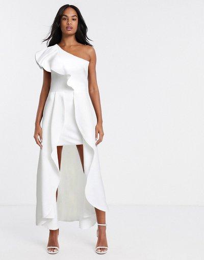 Bianco donna Vestito lungo monospalla asimmetrico color avorio - True Violet - Bianco