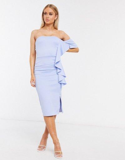 Blu donna Vestito midi a fascia con volant blu pallido - True Violet