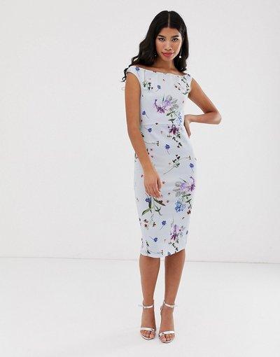 Multicolore donna Vestito midi a fiori con spalle scoperte - True Violet - Multicolore