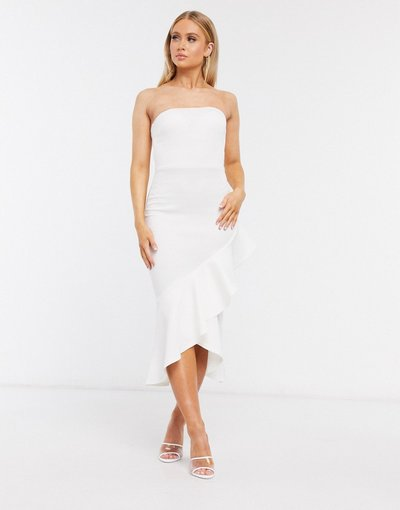 Bianco donna Vestito midi avorio a fascia con volant - True Violet - Bianco