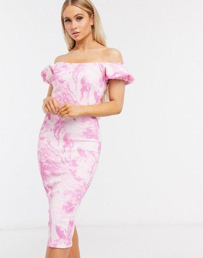 Rosa donna Vestito midi con maniche voluminose e stampa marmo - True Violet - Rosa