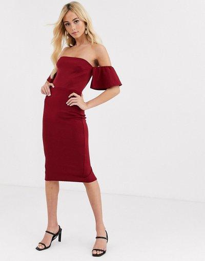 Rosso donna Vestito midi con ruches sulle maniche con scollo alla Bardot - True Violet - Rosso