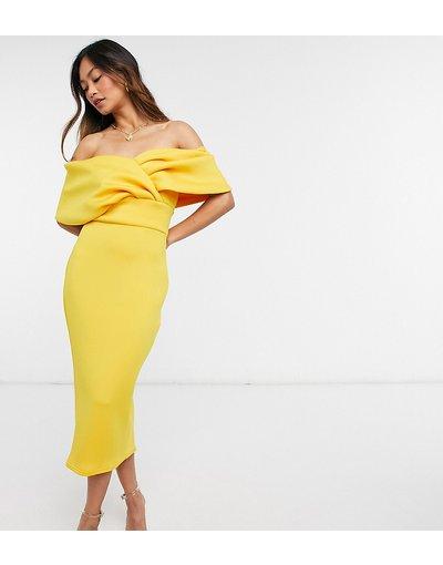 Giallo donna Vestito midi fasciante con spalle con incrocio ocra dorato - True Violet - Giallo