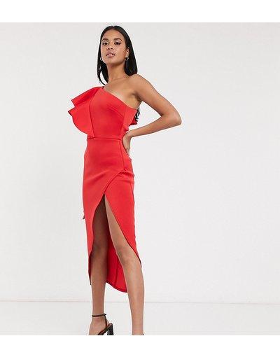 Rosso donna Vestito midi monospalla con taglio a portafoglio estremo rosso - True Violet