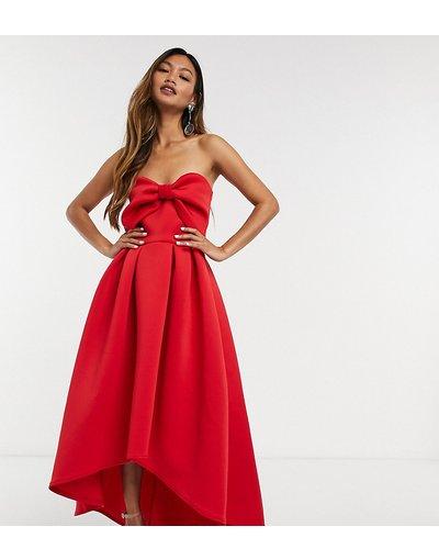 Rosso donna Vestito midi oversize corto davanti e lungo dietro, colore rosso - True Violet