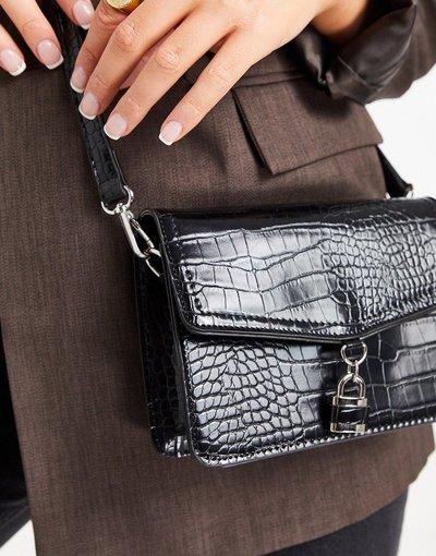 Borsa Nero donna Borsa a tracolla nero coccodrillo con lucchetto - Truffle Collection