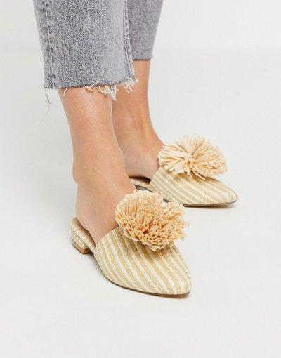 Scarpa bassa Beige donna Sabot bassi con pompon beige - Truffle Collection