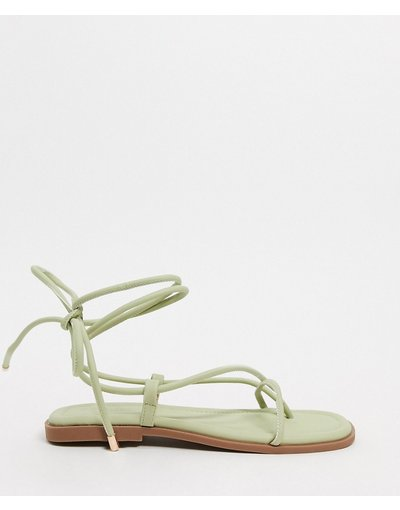 Sandali Verde donna Sandali bassi con punta squadrata allacciati alla gamba menta pastello - Truffle Collection - Verde