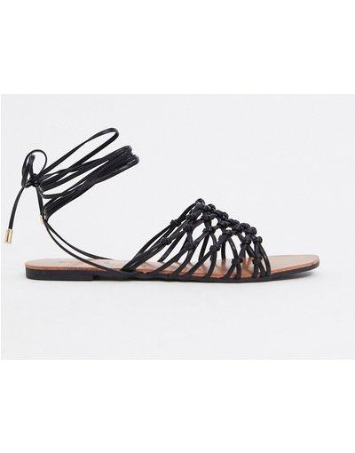 Sandali Nero donna Sandali bassi da allacciare alla gamba, colore nero - Truffle Collection