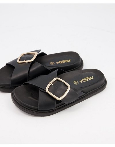 Infradito Nero donna Sandali bassi neri con fibbia - Truffle Collection - Nero
