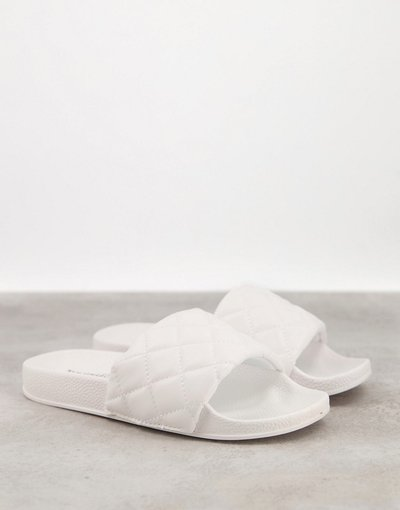 Infradito Bianco donna Sliders basse da piscina bianche trapuntate - Truffle Collection - Bianco