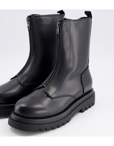 Sneackers Nero uomo Stivali neri con suola spessa e zip frontale - Truffle Collection - Nero