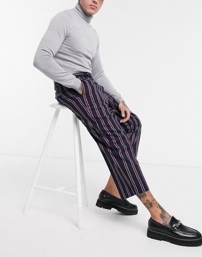 Pantalone Navy uomo Pantaloni blu navy con righe rosse - Twisted Tailor