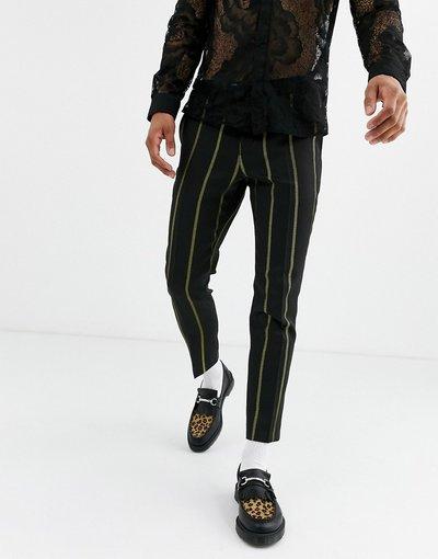 Pantalone Nero uomo Pantaloni cropped eleganti affusolati neri a righe gialle - Twisted Tailor - Nero