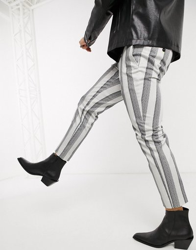 Crema uomo Pantaloni slim affusolati a righe color crema con catena - Twisted Tailor