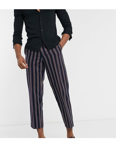Navy uomo Pantaloni blu navy con righe rosse - Twisted Tailor TALL