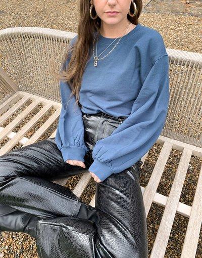 Blu donna Maglione girocollo con maniche a palloncino blu scuro - Brook - UGG