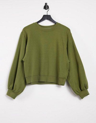 Verde donna Maglione girocollo verde oliva selvatico con maniche a palloncino - Brook - UGG moda abbigliamento